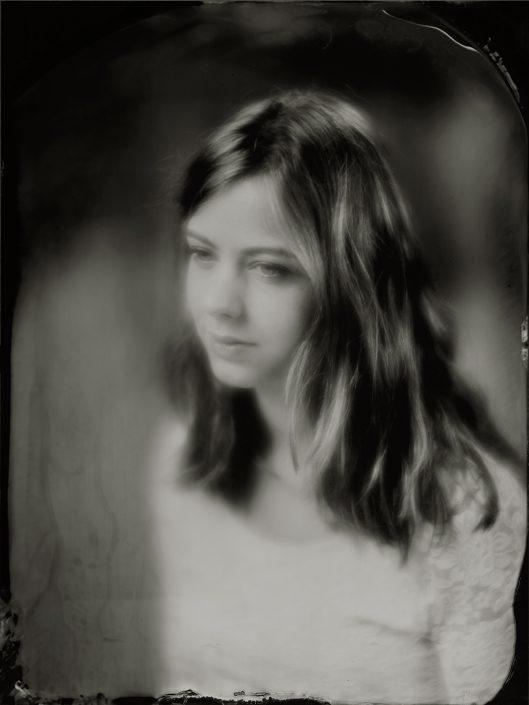 18x24 cm soft focus Tintype portret gemaakt met het wetplate collodium procedé