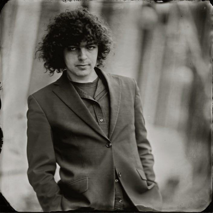Flip Noorman singer/songwriter 16x16 Ambrotype (blank glas) gemaakt met het wetplate collodium procedé