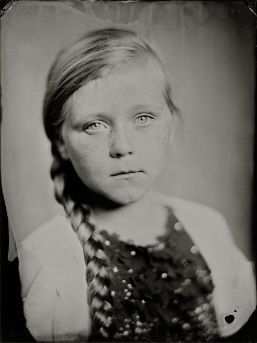 'Ike' op een 18x24 cm Tintype gemaakt met het wetplate collodium procedé