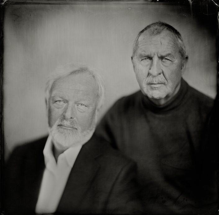 'Frank en Hans' 30x30 cm Tintype portret gemaakt met het wetplate collodium procedé