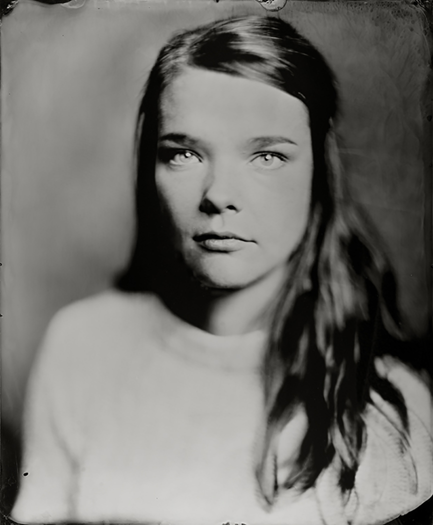 'Susan' 35x43 cm Ambrotype(blank glas) wetplate portret