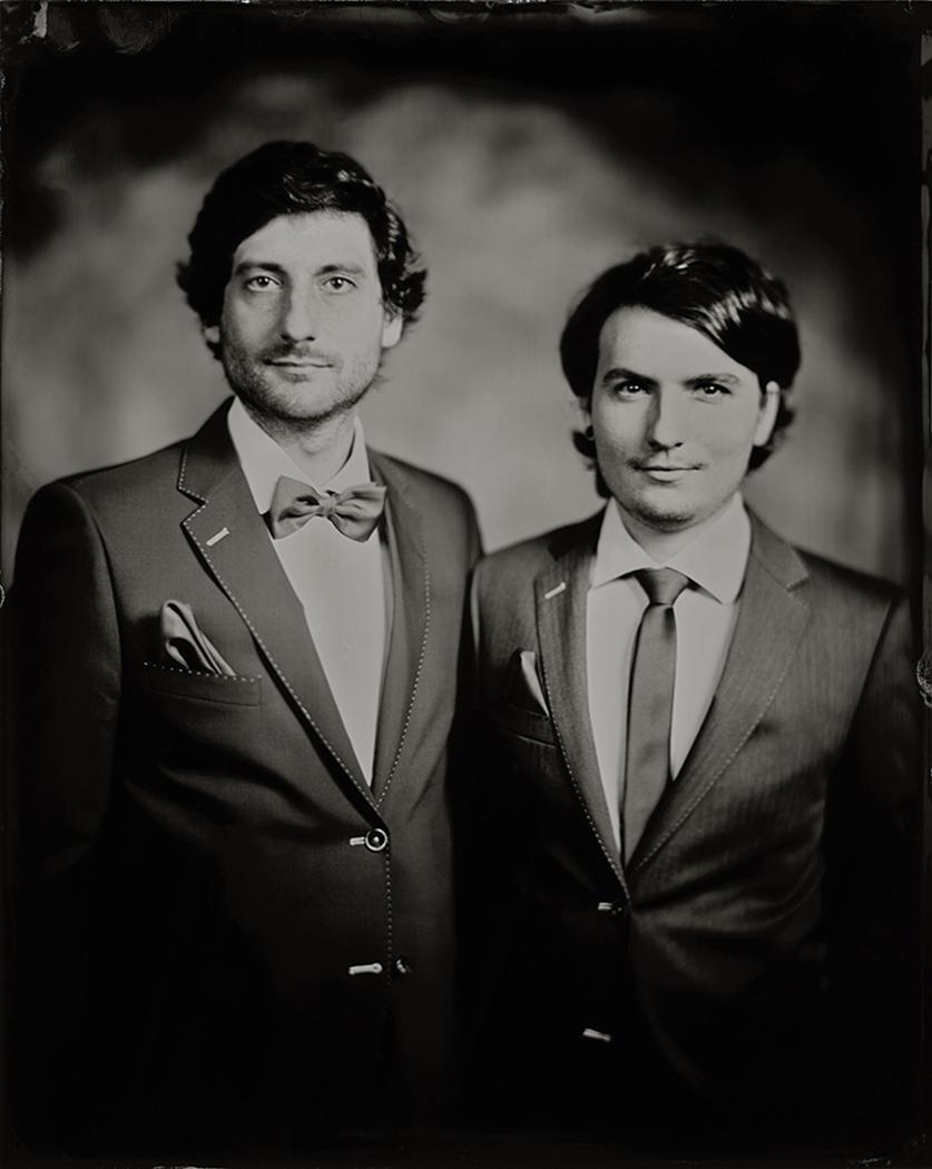 'Sander & Nicolas' Scan van 24x30 cm Tintype portret